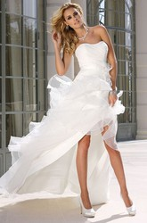 Strapless Asymmetrical Ruffled Satin Wedding Dress With Ruching