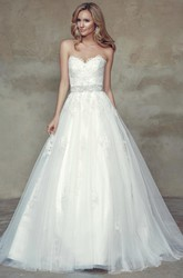 Ball Gown Jeweled Sweetheart Tulle Wedding Dress With Bow