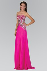A-Line Maxi Sweetheart Sleeveless Chiffon Backless Dress With Sequins And Beading