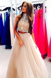 Gorgeous Two Pieces High-Neck Prom Dresses 2018 Beadings Tulle A-Line