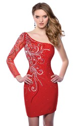 Long Illusion Sleeve Sheath Short Homecoming Dress Featuring One-Shoulder Design