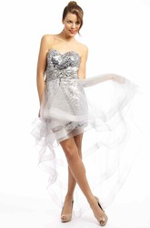 Sheath Sweetheart Sleeveless Ruched Floor-Length Sequins Prom Dress With Tiers