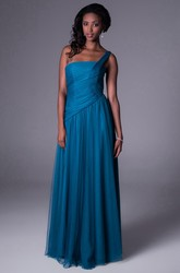 One-Shoulder Floor-Length Ruched Tulle Bridesmaid Dress With Straps