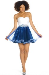 A-Line Mini Crystal Sweetheart Sleeveless Tulle Prom Dress With Backless Style And Ruching