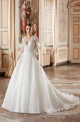 Ball Gown V-Neck 3-4-Sleeve Organza Wedding Dress With Illusion