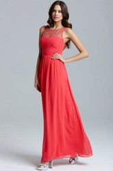 Ankle-Length Scoop Neck Ruched Sleeveless Chiffon Bridesmaid Dress