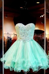 A-Line Princess Sweetheart Sleeveless Applique Short Mini Tulle Dresses