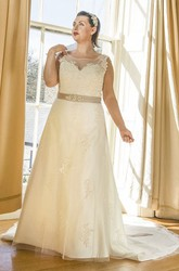 Jewel Neck Tulle Bridal Gown With Lace Up And Crystal Satin Sash