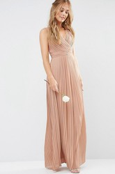 Sheath Sleeveless Pleated V-Neck Chiffon Bridesmaid Dress With Ruching And Split Front