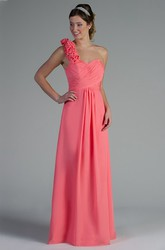 Floral Single Strap Chiffon Long Bridesmaid Dress With Criss Cross Top