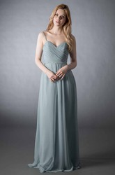 Sheath Spaghetti Long Criss-Cross Sleeveless Chiffon Bridesmaid Dress With Low-V Back And Waist Jewellery