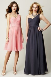 Knee-Length Ruched Sleeveless One-Shoulder Chiffon Bridesmaid Dress With Bow