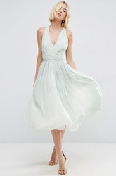 Knee-Length V-Neck Sleeveless Chiffon Bridesmaid Dress With Ruching And Straps