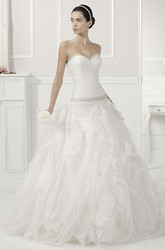 Jewel Neck Beaded Drop Waist Bridal Gown With Tiered Organza Skirt