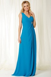 Criss-Cross Sleeveless V-Neck Chiffon Bridesmaid Dress