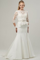 Trumpet Floor-Length High Neck 3-4-Sleeve Jeweled Satin Wedding Dress With Appliques And Peplum