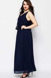 Ankle-Length Sleeveless V-Neck Lace Chiffon Bridesmaid Dress