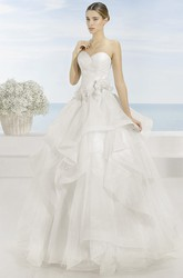 Sweetheart Long Draped Criss-Cross Organza Wedding Dress With Court Train And V Back