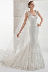 Sweetheart Mermaid Sheath Wedding Dress With Illusion Lace Panel And Brush Train