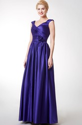A-line Cap Sleeve V-neck Satin Gown With Pleats