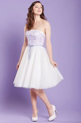Midi Strapless Appliqued Tulle Bridesmaid Dress With Ribbon And V Back