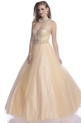 Tulle A-Line Sweetheart Sleeveless Prom Dress With Rhinestone Halter And Trim