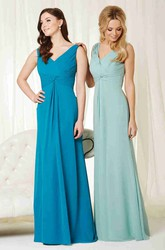 V-Neck Sleeveless Criss-Cross Chiffon Bridesmaid Dress
