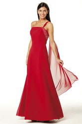 Beaded Sleeveless One-Shoulder Chiffon Bridesmaid Dress With Bow And Lace-Up
