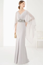 V-Neck Sheath Long Prom Dress With High Low Batwing Sleeves And Beaded Waist
