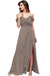 Floor-Length Draped Sleeveless Spaghetti Chiffon Muti-Color Convertible Bridesmaid Dress