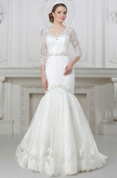 Trumpet V-Neck Floor-Length 3-4-Sleeve Appliqued Lace Wedding Dress With Waist Jewellery And Beading