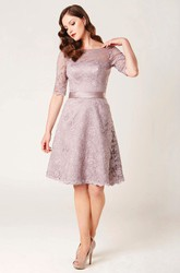 A-Line Knee-Length Appliqued Half Sleeve Bateau Neck Lace Bridesmaid Dress