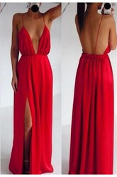 Sexy Red Spaghetti Straps Prom Dress 2018 Long Deep V-Neck
