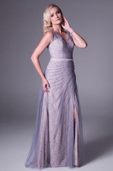 Sheath Lace Sleeveless V-Neck Maxi Tulle Bridesmaid Dress With Split Front And Side Draping