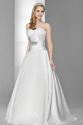 A-Line Jeweled Sweetheart Satin Wedding Dress With Criss Cross And Sweep Train
