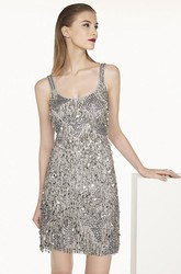 Scoop Neck Sequined Short Prom Dress With Back Criss-Cross Straps Shown In Silver