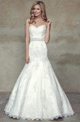 A-Line Jeweled Sweetheart Floor-Length Lace Wedding Dress With Appliques And Bow