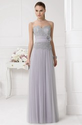A-Line Maxi Sweetheart Appliqued Sleeveless Tulle Prom Dress With Flower And Pleats