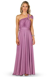 Sleeveless One-Shoulder Bowed Jersey Convertible Bridesmaid Dress With Straps