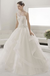 Single Strap Bridal Gown With Lace Top And Layered Organza Skirt