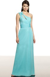 One-Shoulder Sleeveless Ruched Chiffon Bridesmaid Dress With Bow