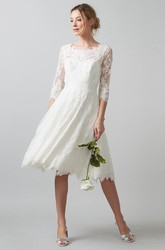 Scoop Tea-Length 3-4-Sleeve Appliqued Lace Wedding Dress With Bow And Illusion