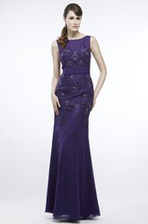 Sheath Scoop-Neck Sleeveless Appliqued Floor-Length Chiffon Prom Dress With Beading