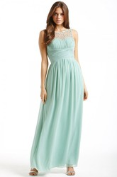 Ankle-Length Sleeveless Bateau Neck Ruched Chiffon Bridesmaid Dress