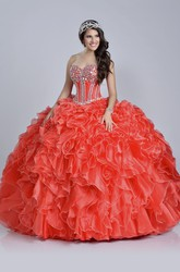 Sequined Corset Ball Gown With Sweetheart Neck And Ruffles