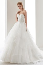 Sweetheart Ruching A-Line Gown With Beaded Bodice And Tiers Ruffles Skirt