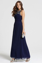 Ankle-Length Lace Sleeveless Scoop Neck Chiffon Bridesmaid Dress