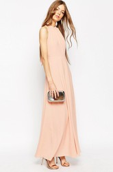 Ankle-Length Sleeveless High Neck Chiffon Bridesmaid Dress With Straps