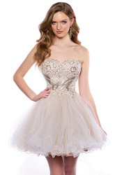 Sweetheart A-Line Tulle Short Homecoming Dress With Sequined Corset