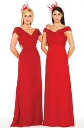Criss-Cross V-Neck Chiffon Bridesmaid Dress With Beading